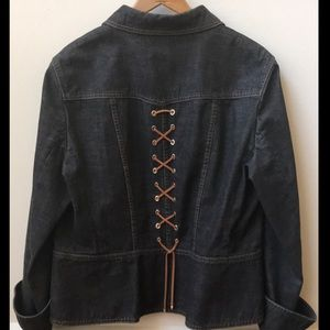 Escada Denim Jacket with leather lace detail